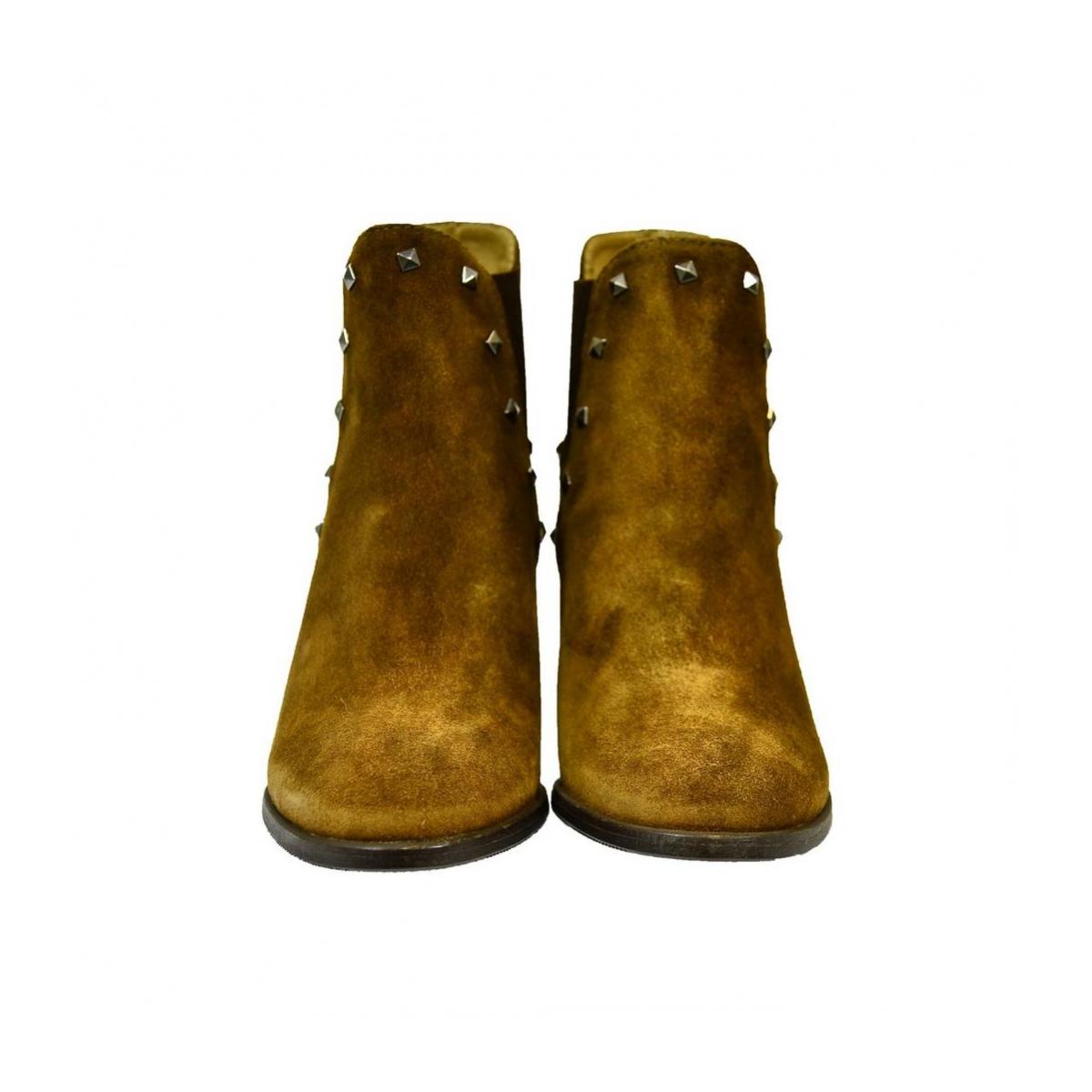 3670a4f74fd23 Dámske hnedé kožené čižmy IVETT - 6