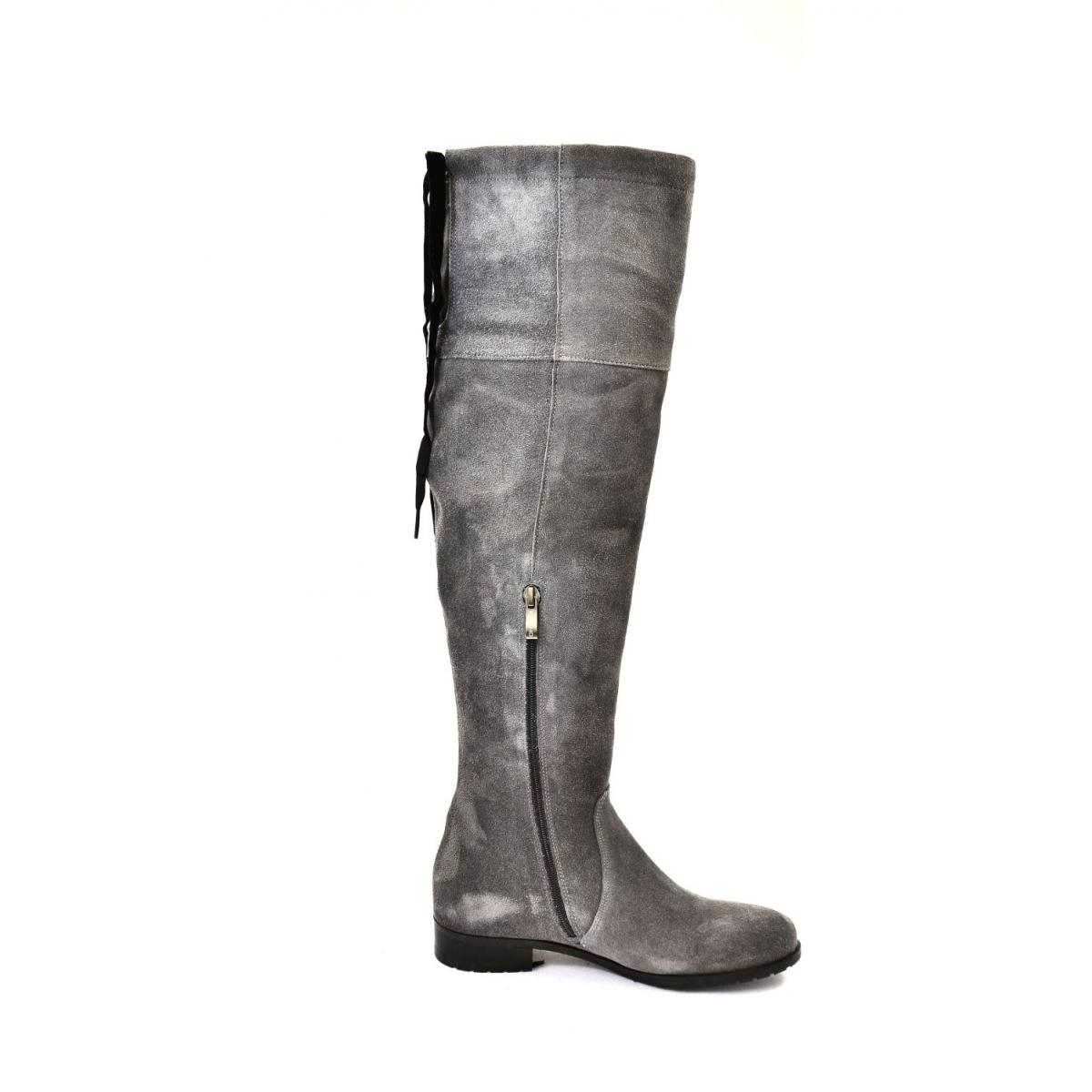 7a6811a232 Dámske sivé kožené čižmy FIONA - 5