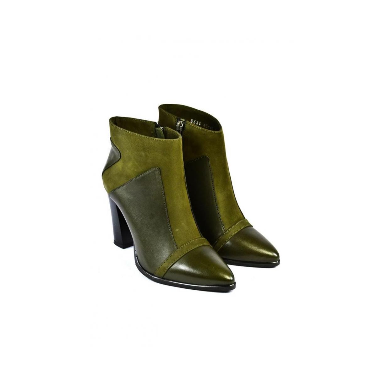 Dámske zelené členkové kožené čižmy MILI - 2 070dfb2961d