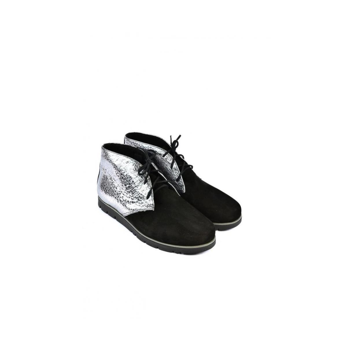 1a8de13302b3 Dámske čierno-strieborné kožené topánky ZEFIR - 5