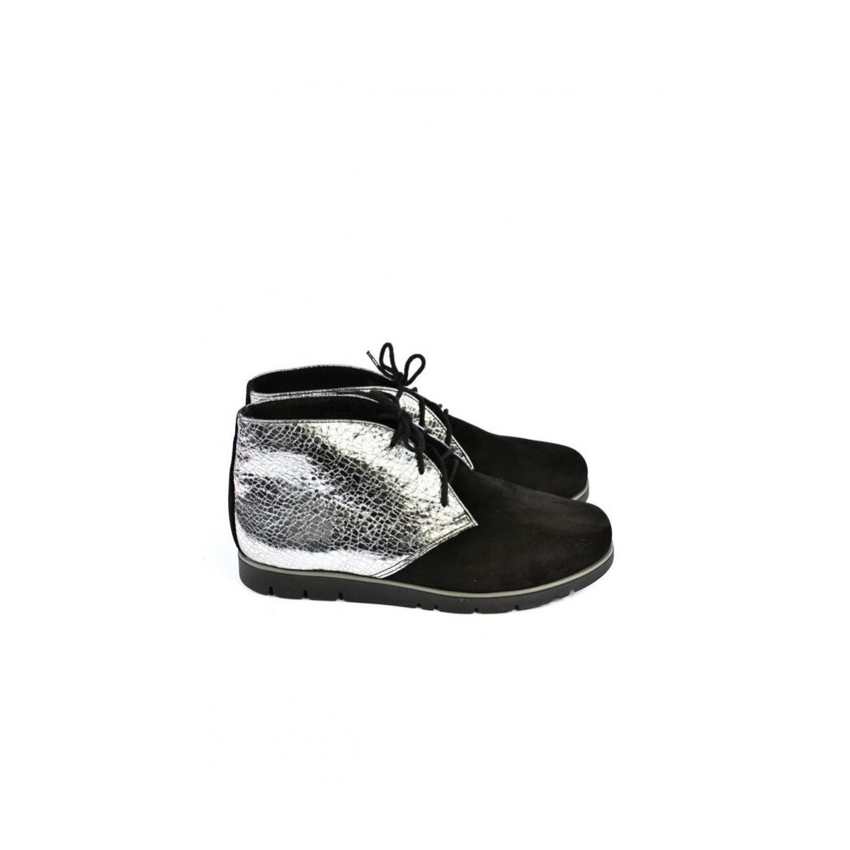 499ae9819074 Dámske čierno-strieborné kožené topánky ZEFIR - 6