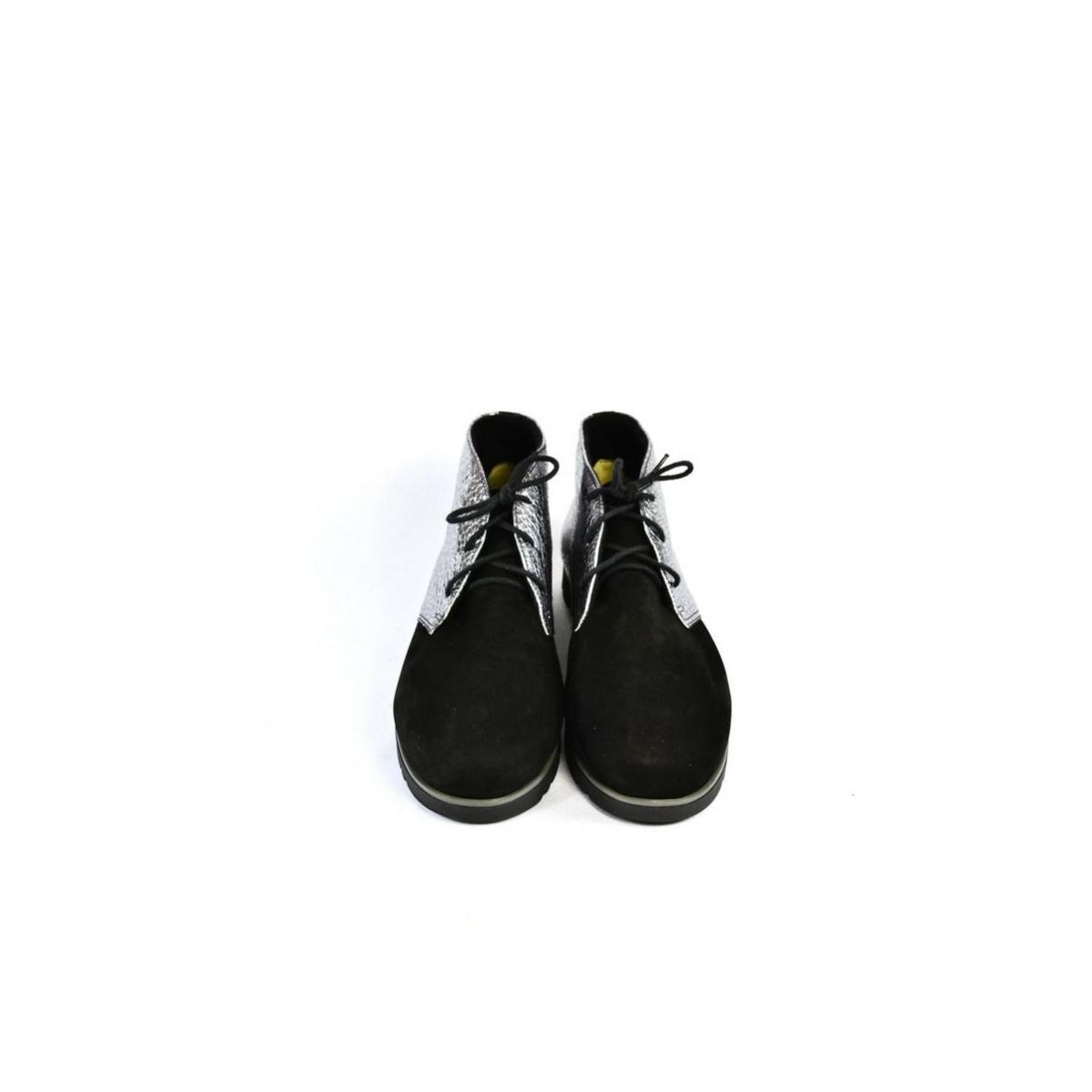 3510f6c2166a Dámske čierno-strieborné kožené topánky ZEFIR - 7