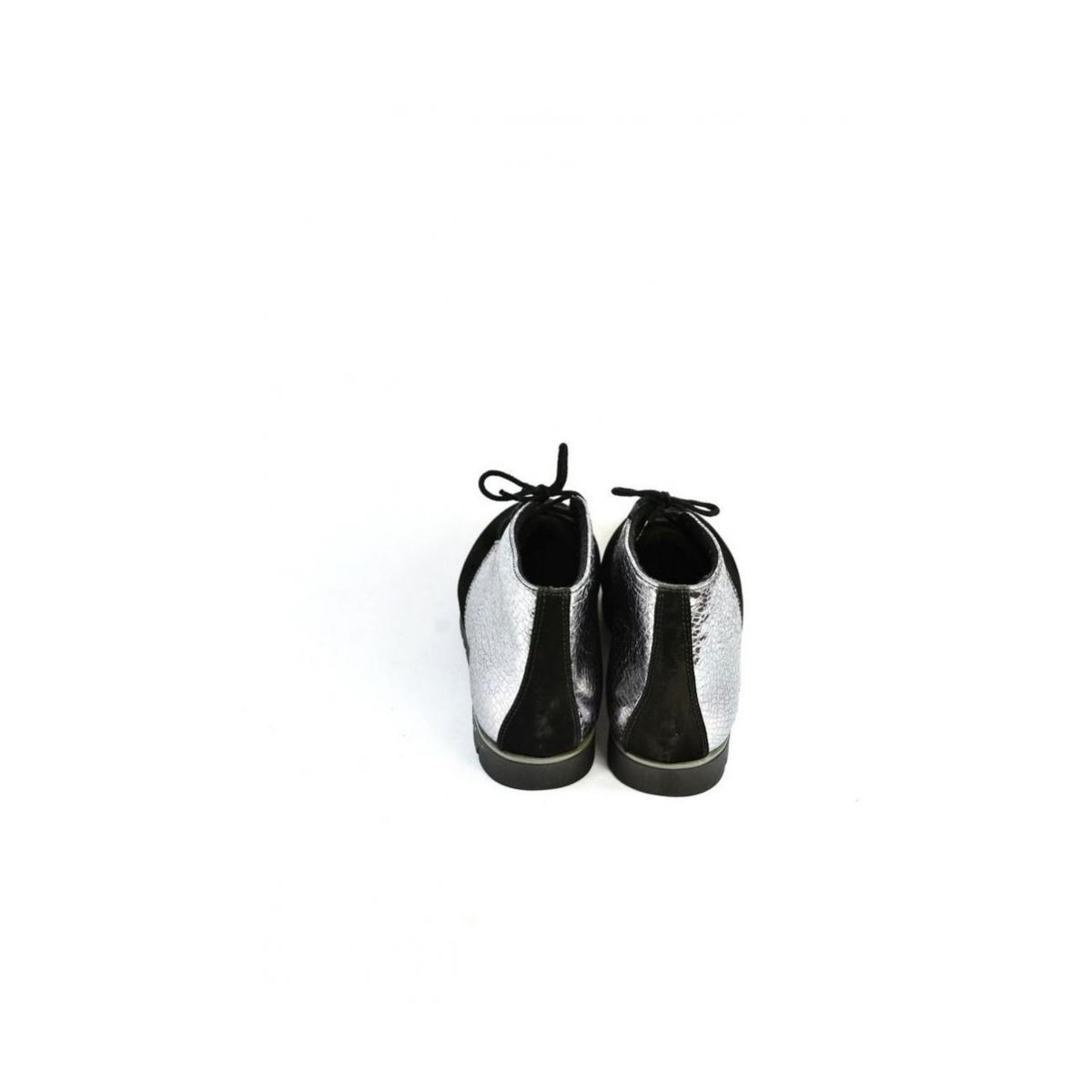 592a11d9cc93 Dámske čierno-strieborné kožené topánky ZEFIR - 8