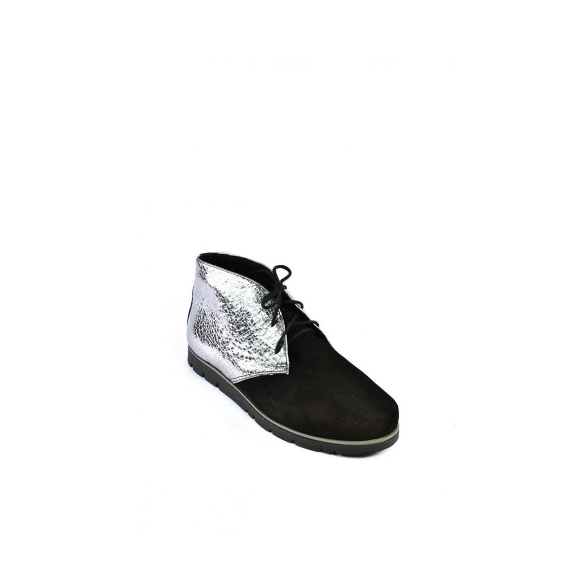 Dámske čierno-strieborné kožené topánky ZEFIR - 2 d73cd9d8fd5