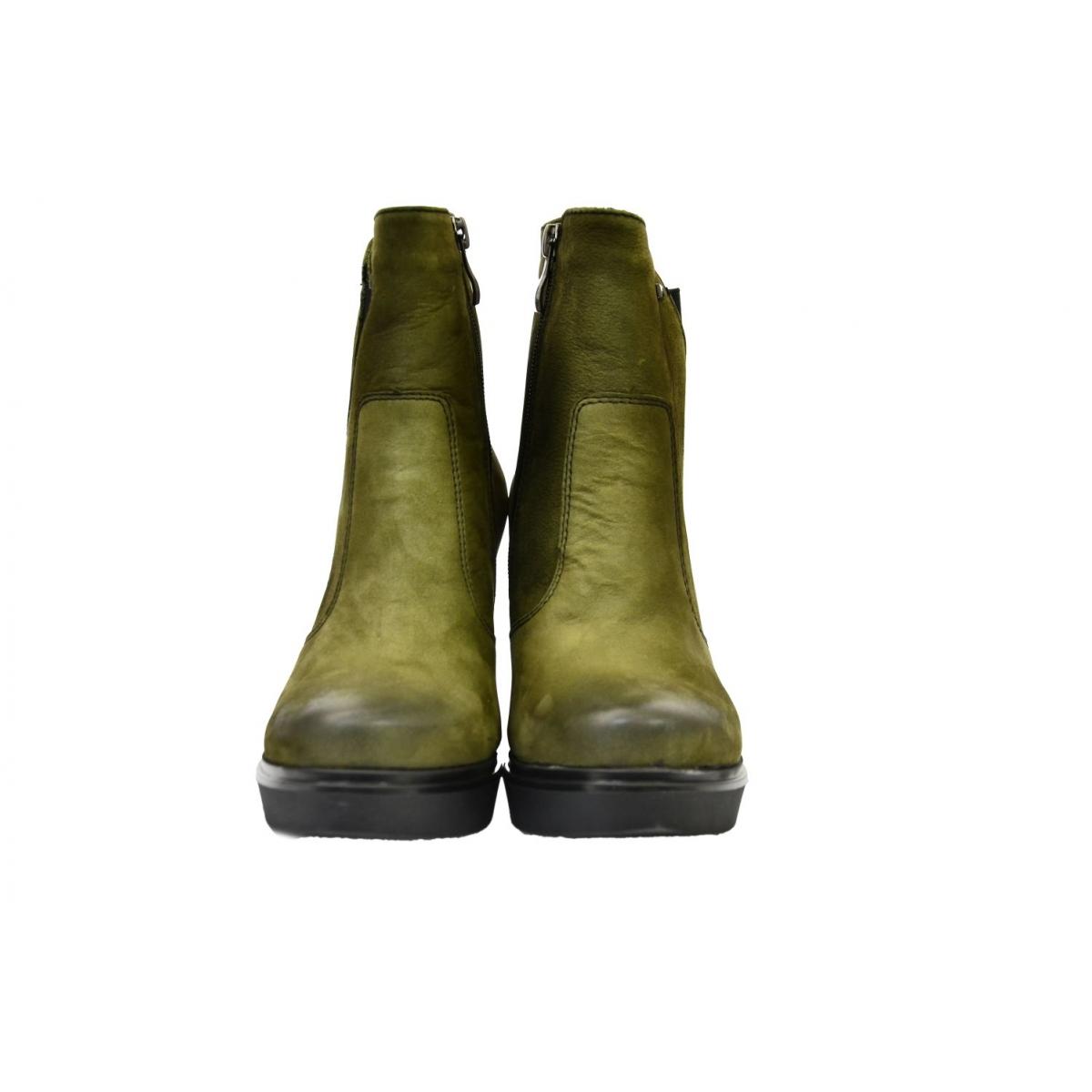 9358770d8fd7 Dámske olivovo zelené kožené čižmy SOSNA - 3