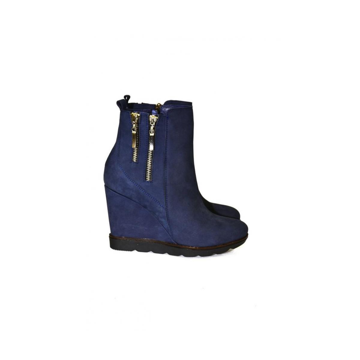 Dámske kožené modré čižmy ILONA - 3 09f2994ed1c