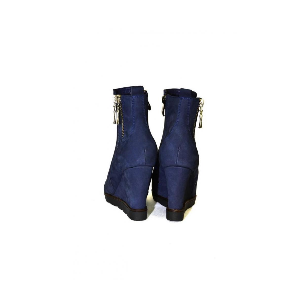 ebe197343541 Dámske kožené modré čižmy ILONA - 4