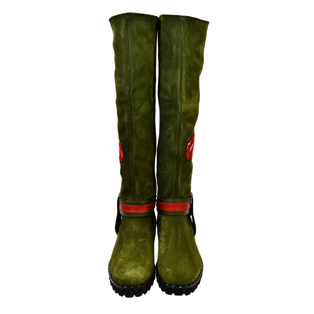 1bc92299074d Dámske olivovo-zelené kožené čižmy GAHIDE - 4