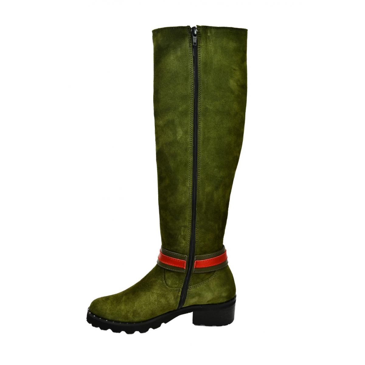 2b6411bf2771 Dámske olivovo-zelené kožené čižmy GAHIDE - 5