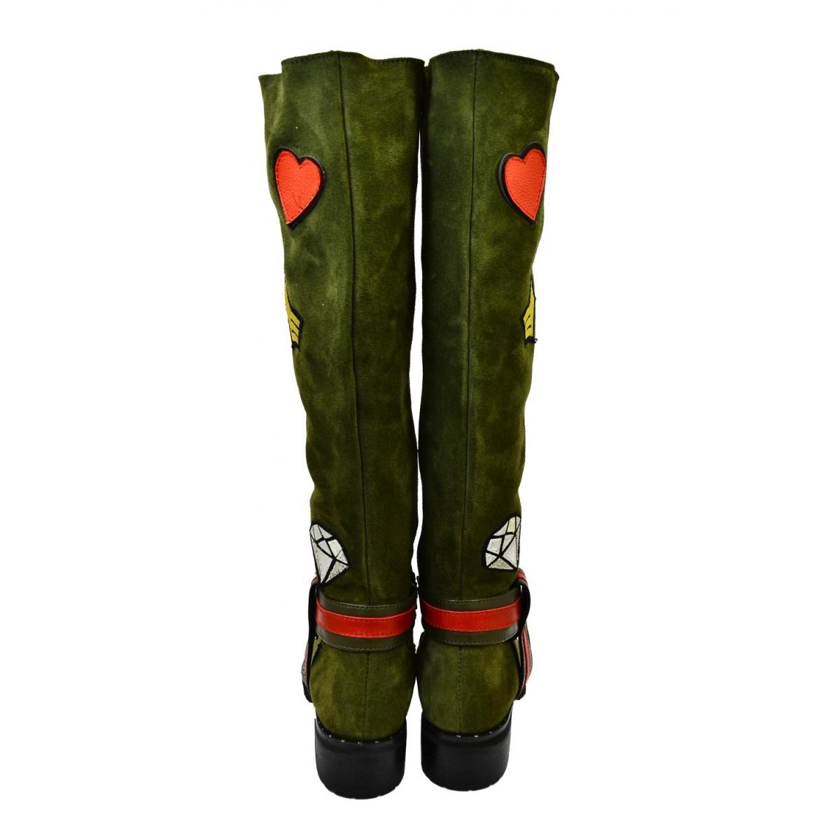 79e712c0e840 Dámske olivovo-zelené kožené čižmy GAHIDE - 2