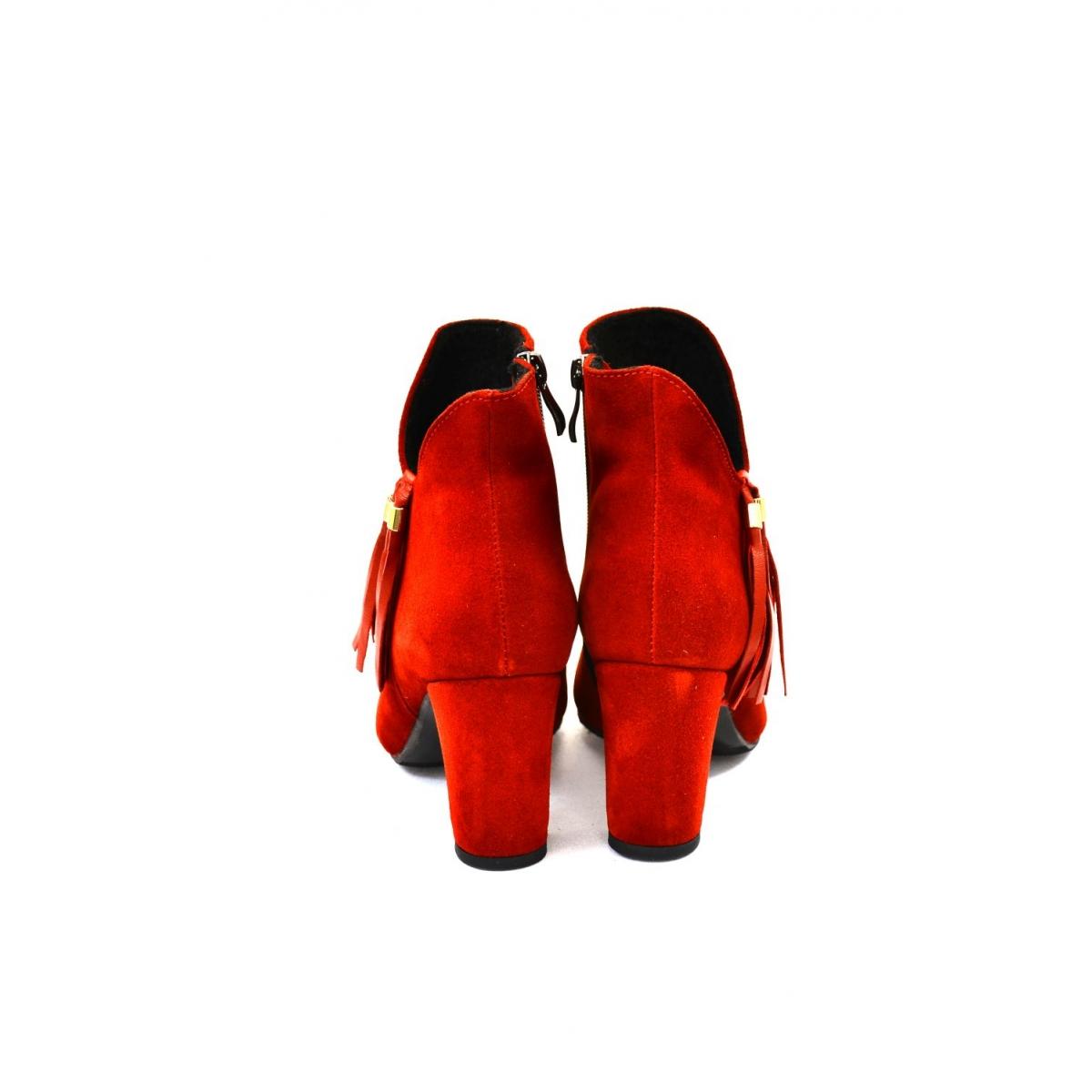 cb81baa03666 Dámske červené kožené členkové čižmy SIRIN - 3