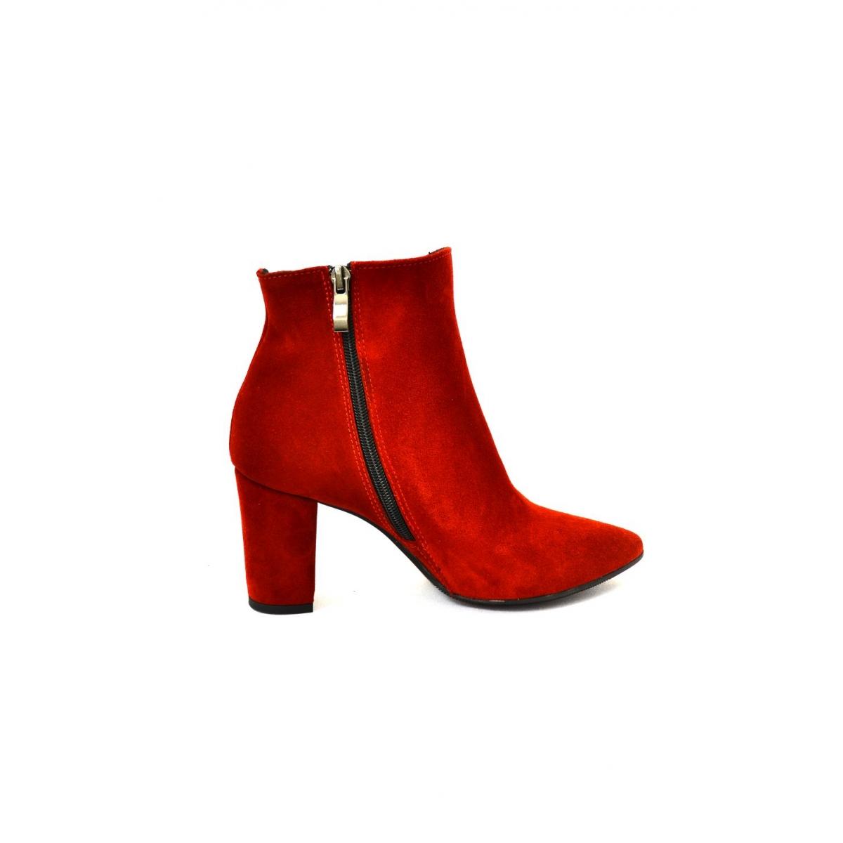 882a4d951 Dámske červené kožené členkové čižmy SIRIN | Johnc.sk