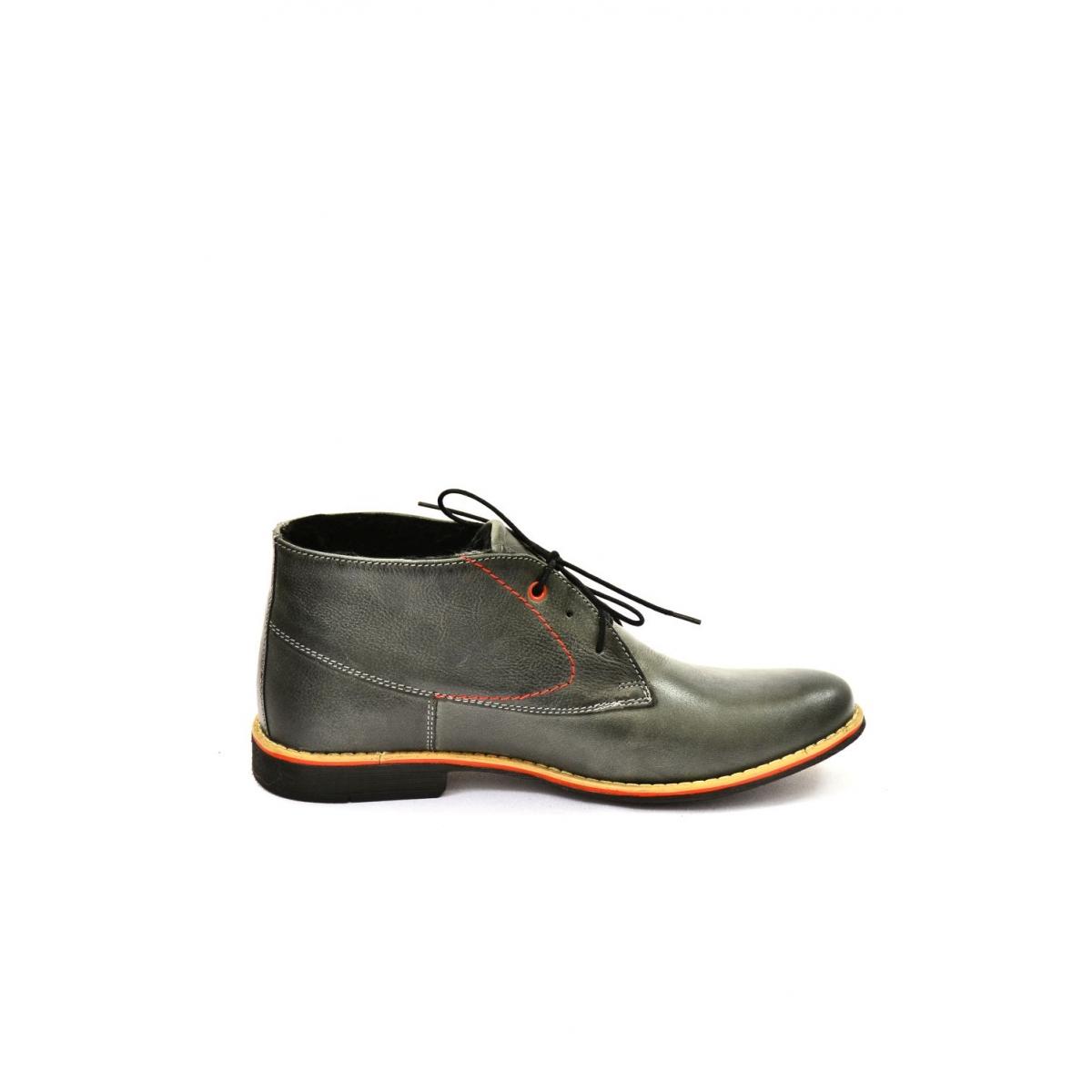 a0d02b4de3 Pánske sivé kožené zimné topánky RONNY - 5