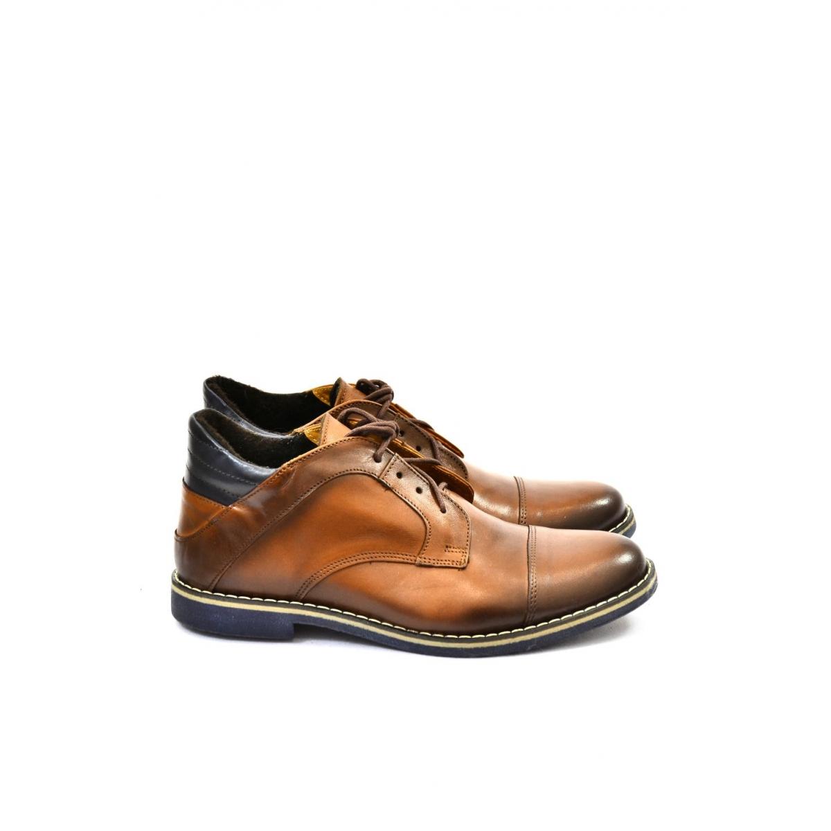 4496678b40a5 Pánske hnedé kožené zimné topánky VINNY - 2