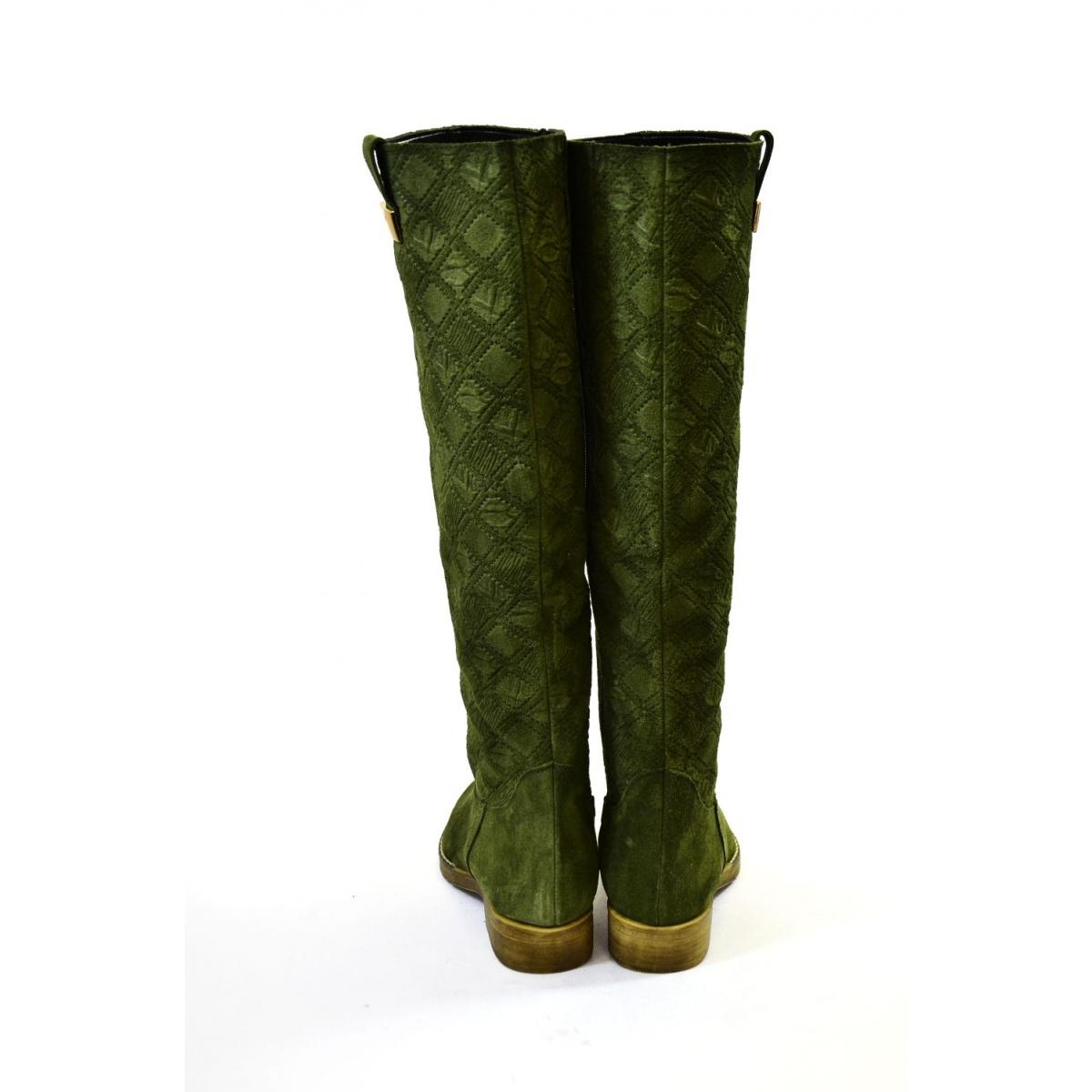 Dámske zelené čižmy CARA - 4 bd9dec7dabf