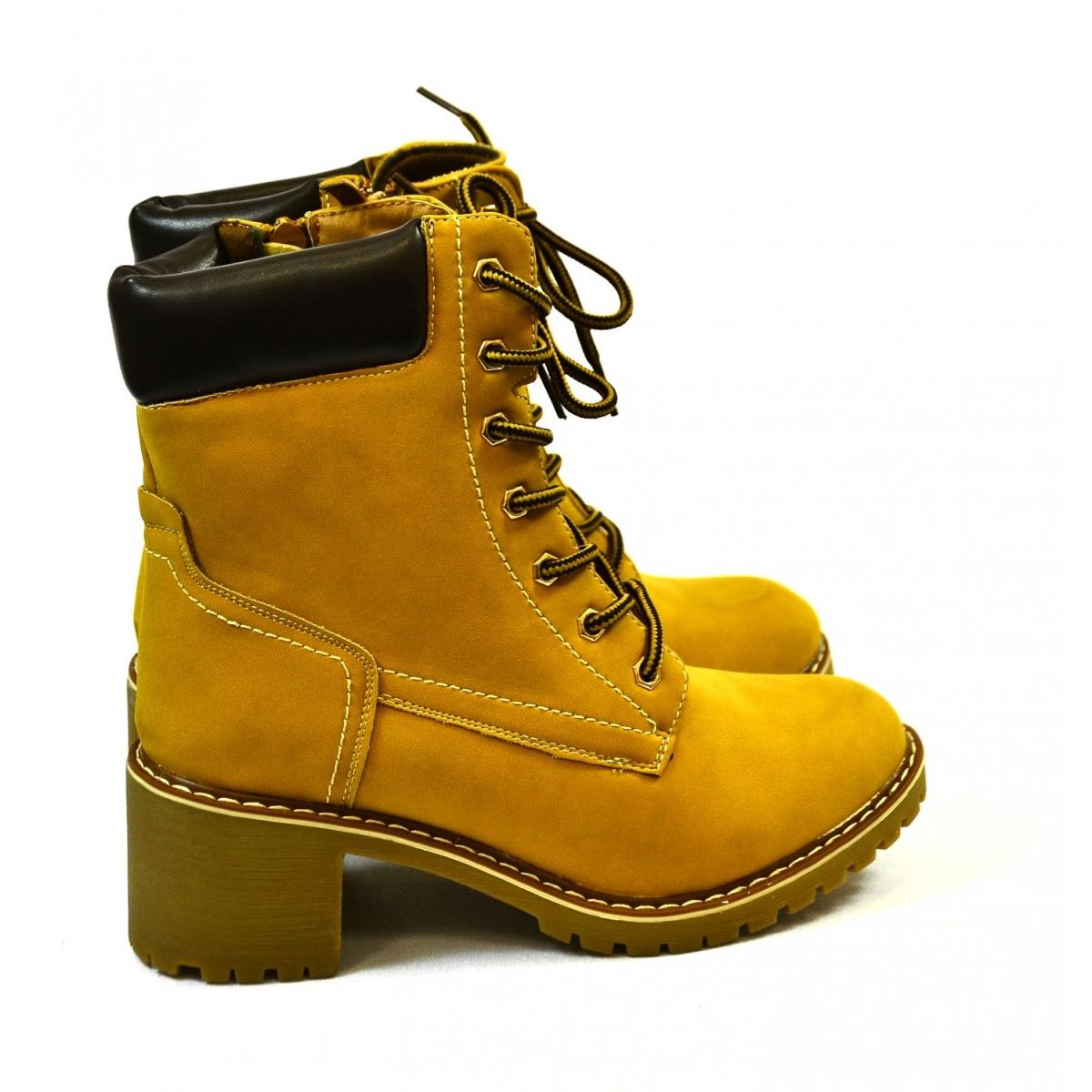 0830642f1157 Dámske žlto-hnedé členkové čižmy JESA - 2