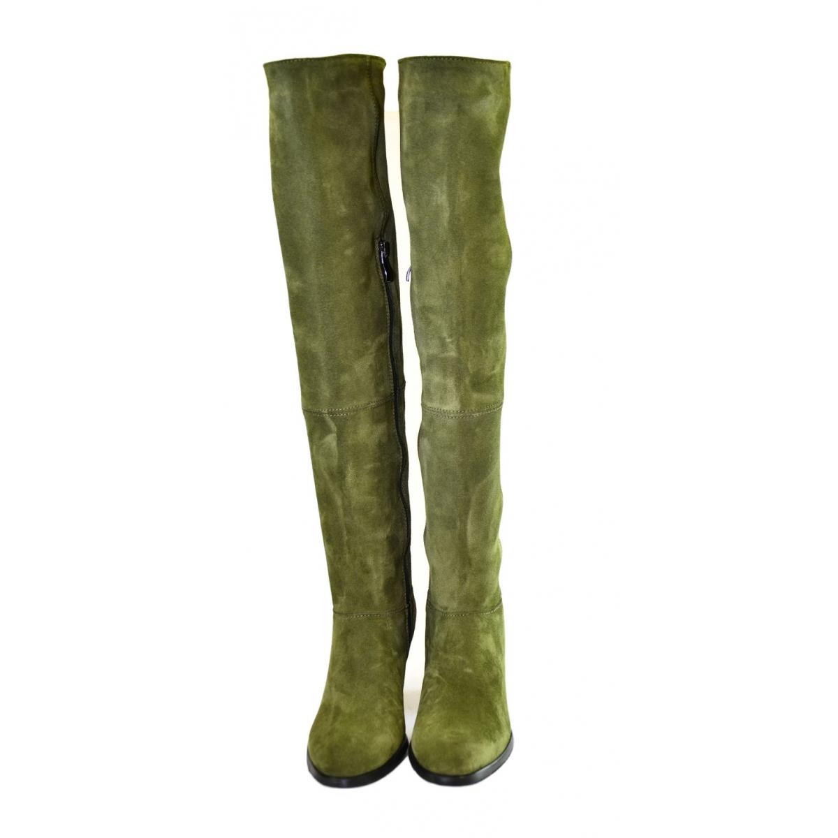 065f22ceeac6 Dámske olivovo-zelené kožené čižmy KYOKO - 4