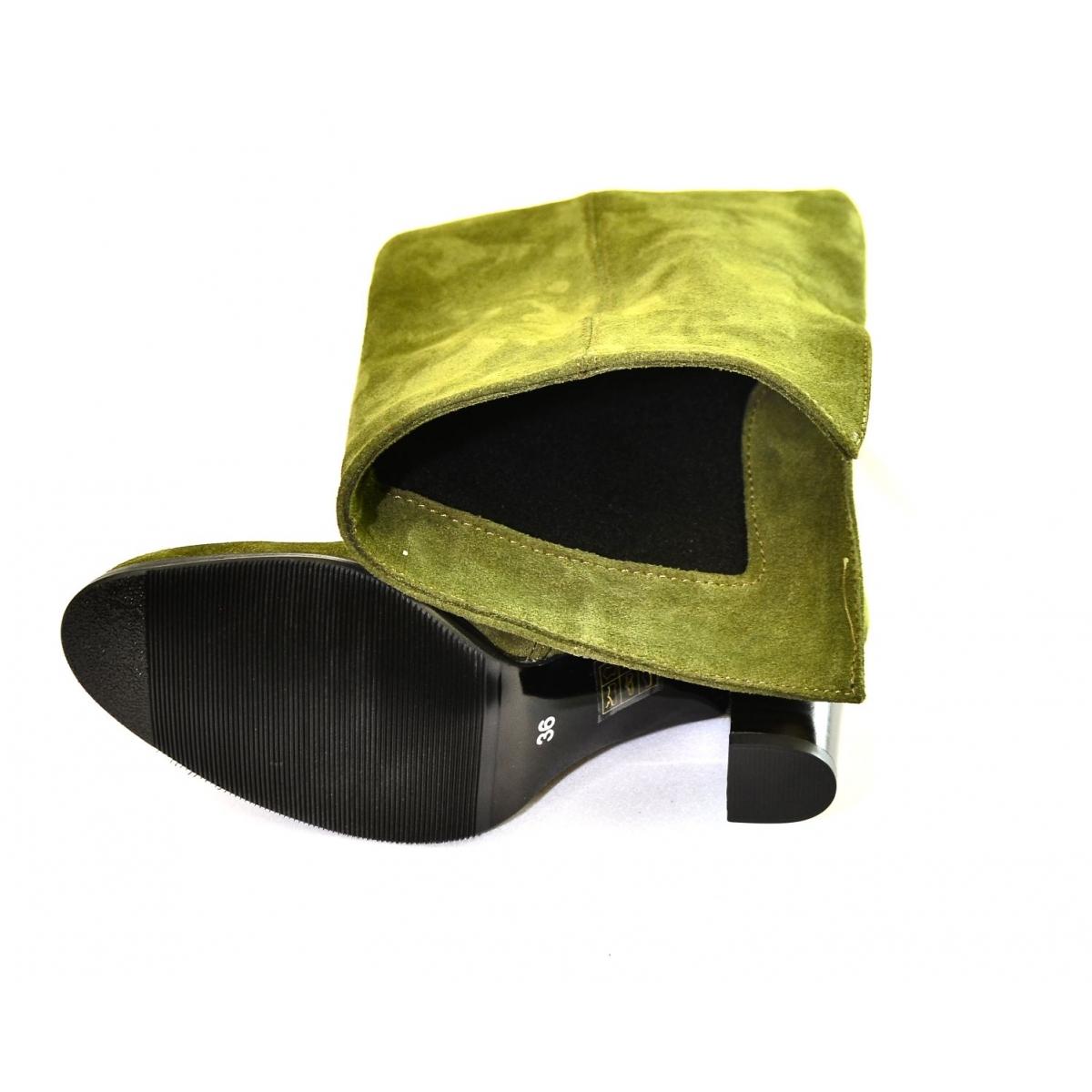 ddef23f57abb Dámske olivovo-zelené kožené čižmy KYOKO - 6