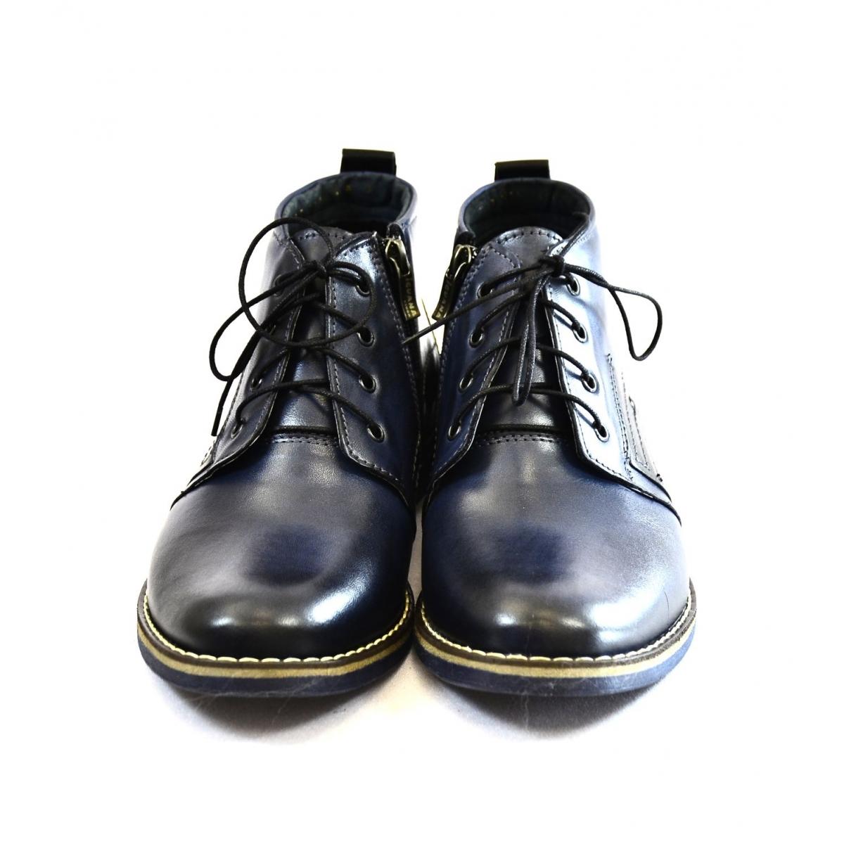 6df4ff448e Pánske tmavo-modré kožené zimné topánky TRISTAN - 3