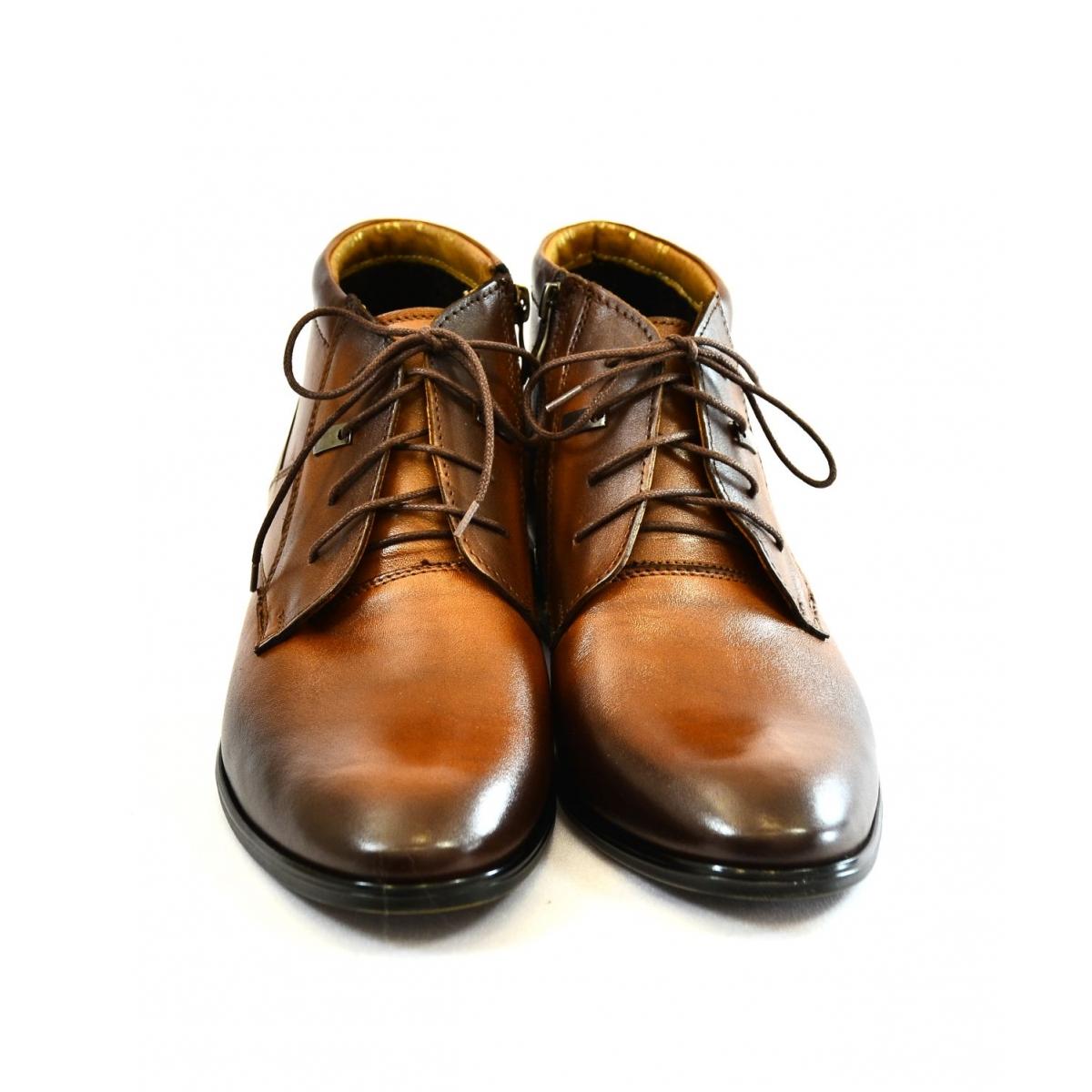 Pánske hnedé kožené zimné topánky TYRION - 3 d99e4d5b730