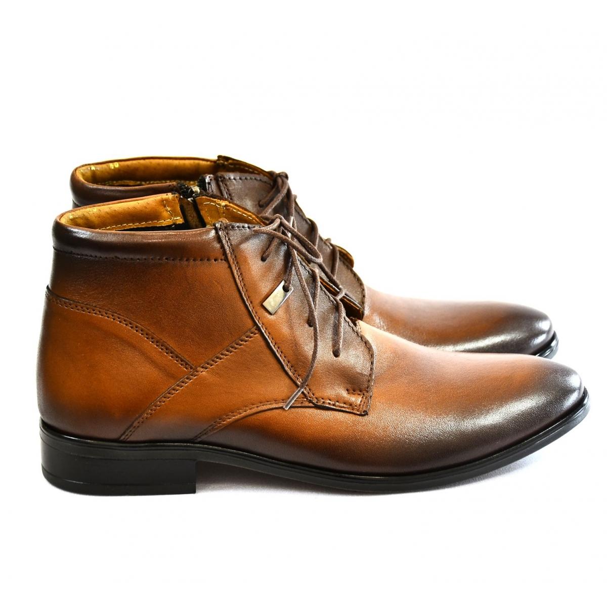 8ec4dcc9f3 Pánske hnedé kožené zimné topánky TYRION - 2