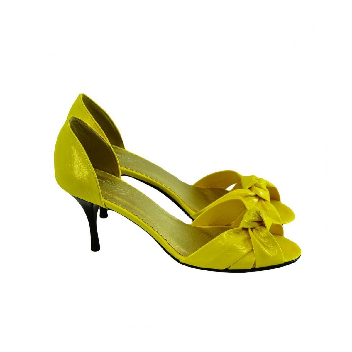 Dámske žlté kožené lodičky Conses - 3 b10b77c3fa