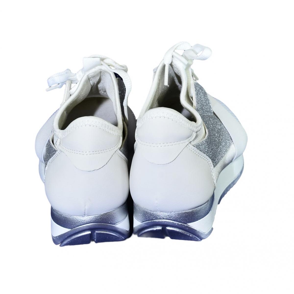 cd94603b3196 Dámske bielo-strieborné botasky BRIEN - 4