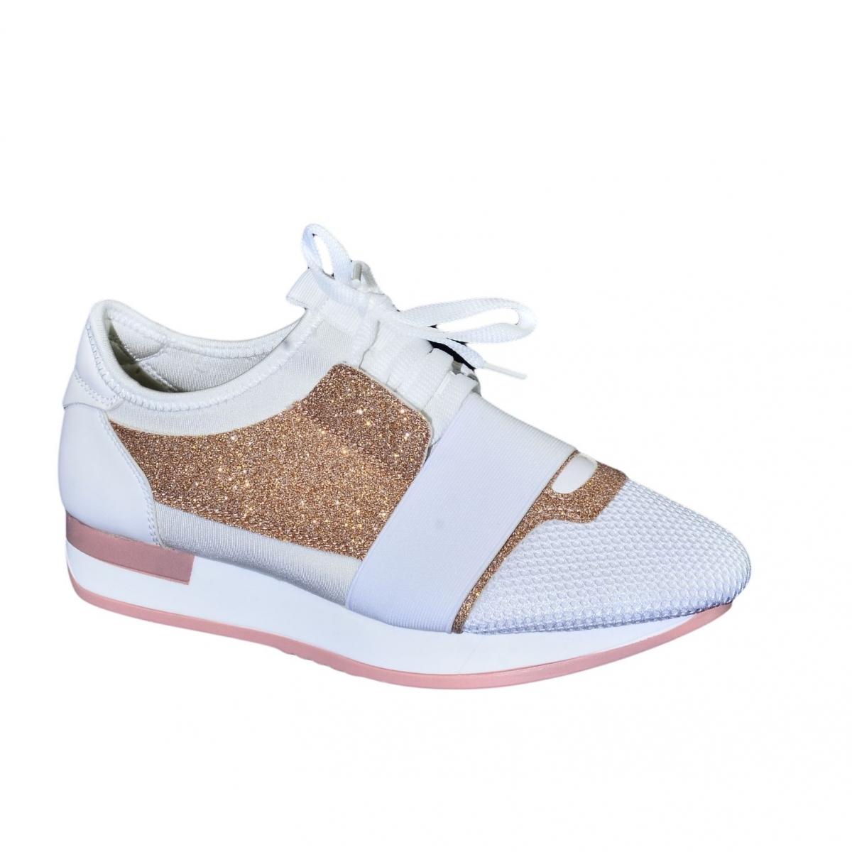 080f068c771a Dámske bielo-ružové botasky BRIEN - 5