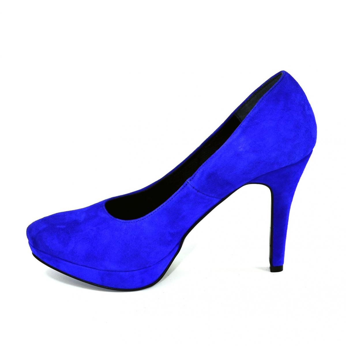 7b60205e4316 Dámske modré semišové lodičky VENITA - 6