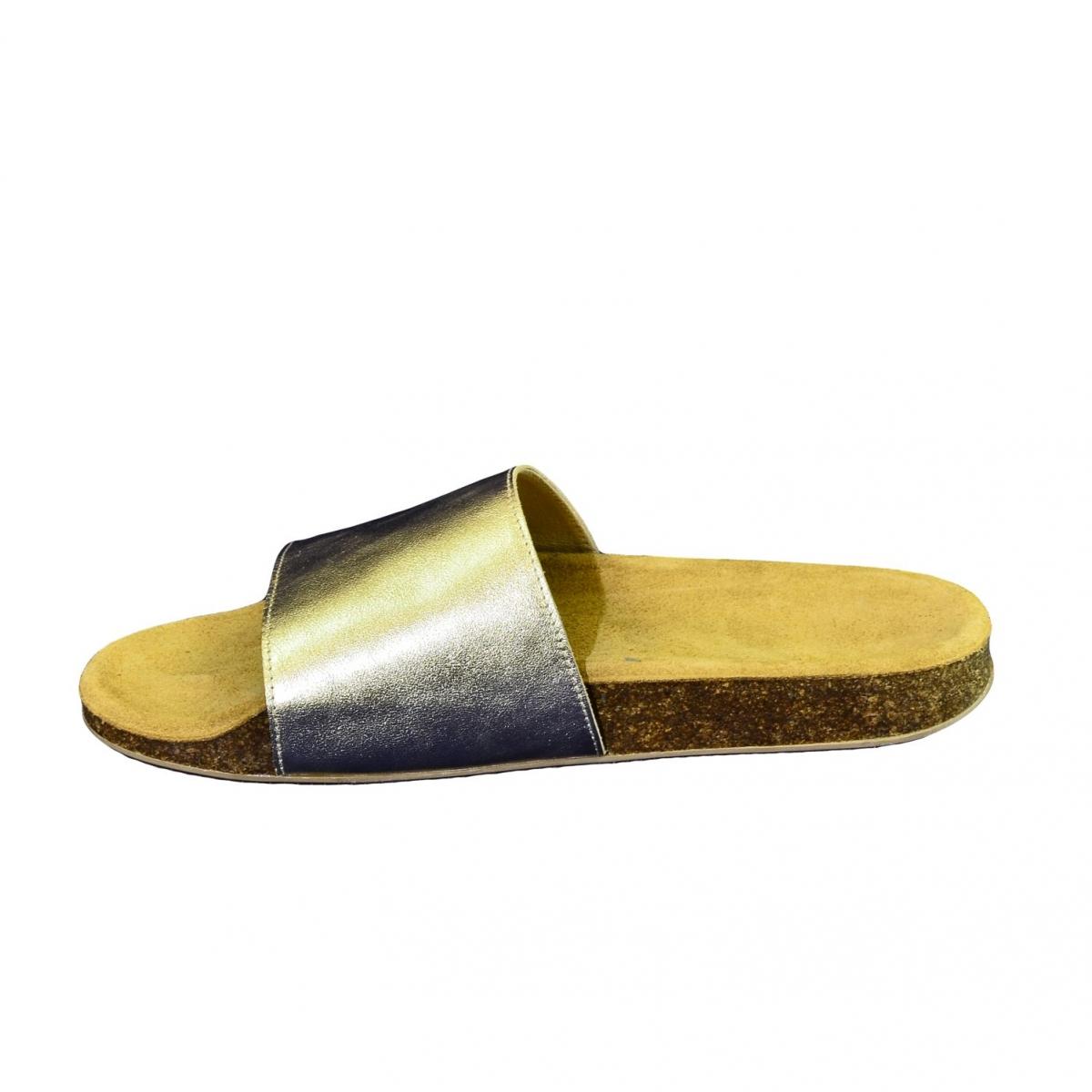 27425e005882b Dámske zlaté kožené šľapky ALBINIA - 6