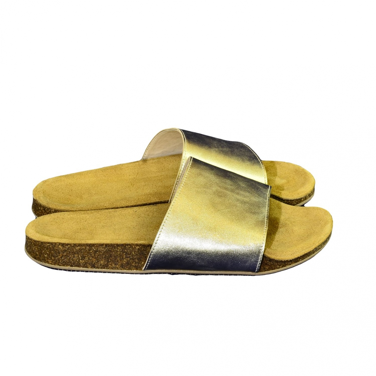 fbe0412f40491 Dámske zlaté kožené šľapky ALBINIA - 2