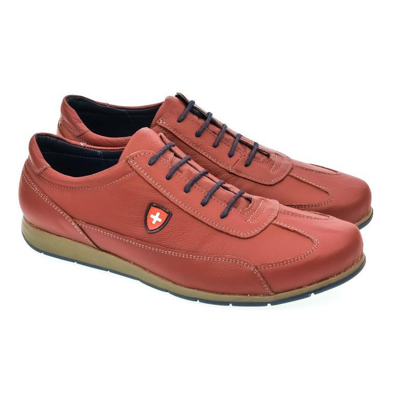 Pánske červené kožené botasky TIGRAN