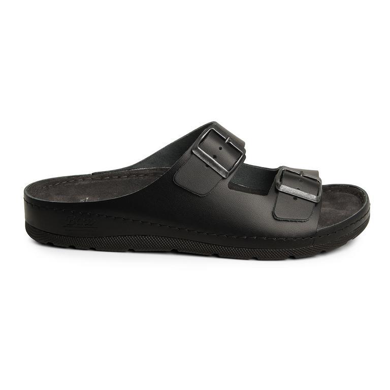 Pánske kožené čierne šľapky ZENO