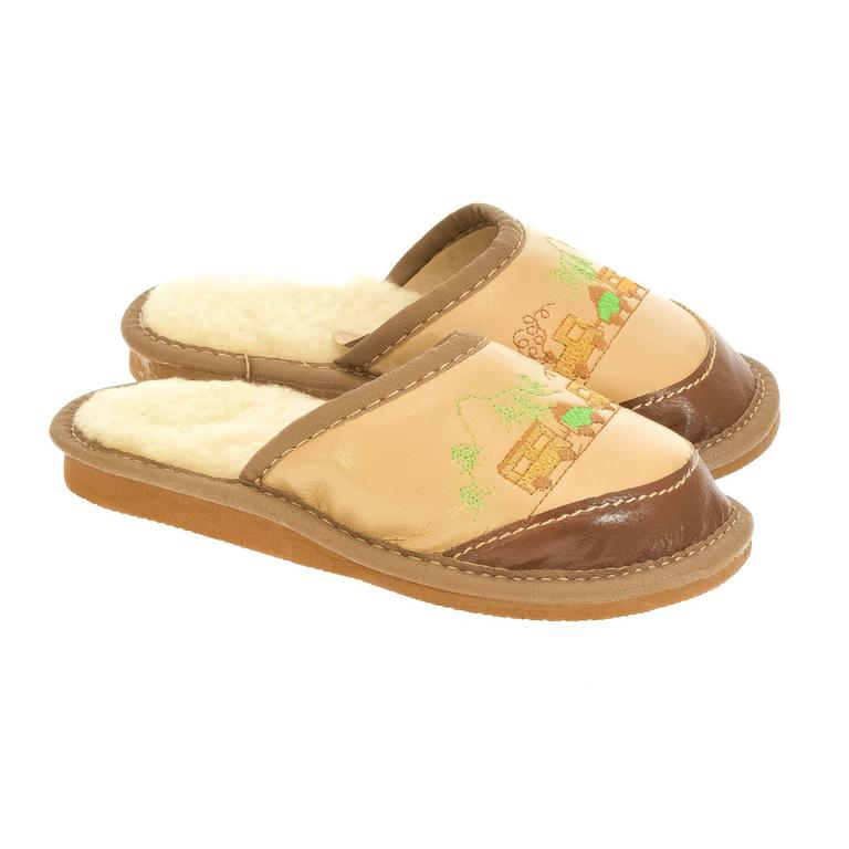Detské hnedé papuče RIKI