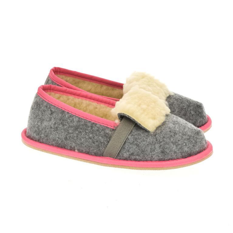 Detské sivé papuče MINA