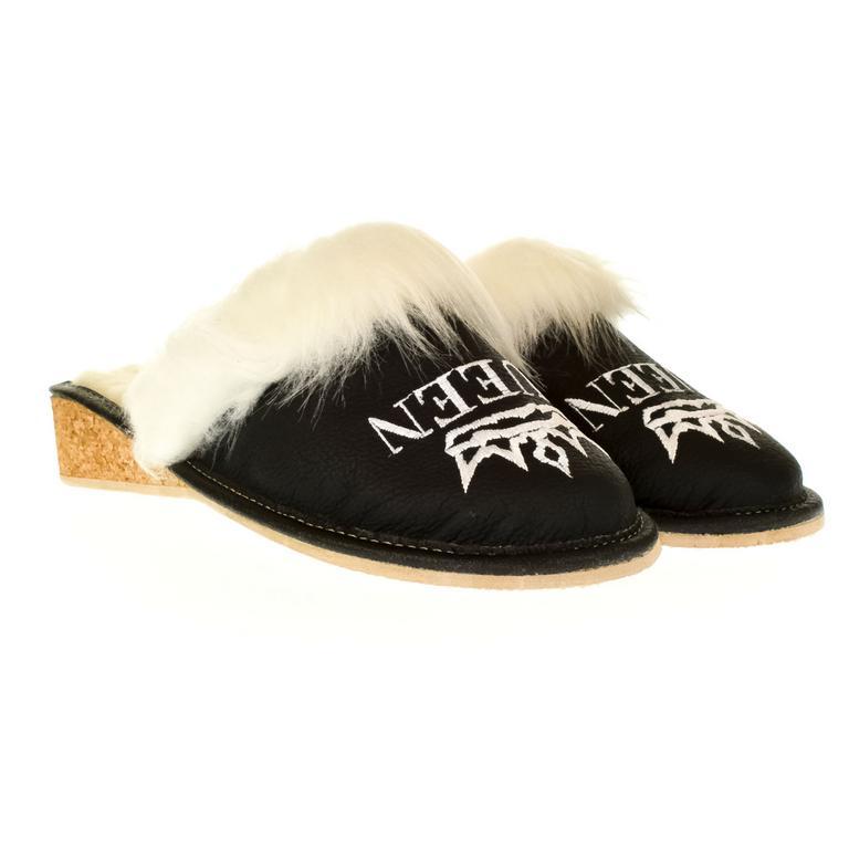 Dámske čierne kožené papuče QUEEN