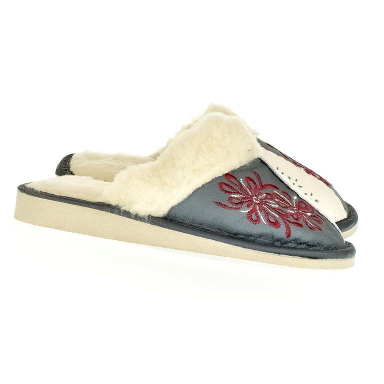 Dámske sivé kožené papuče TAMARA