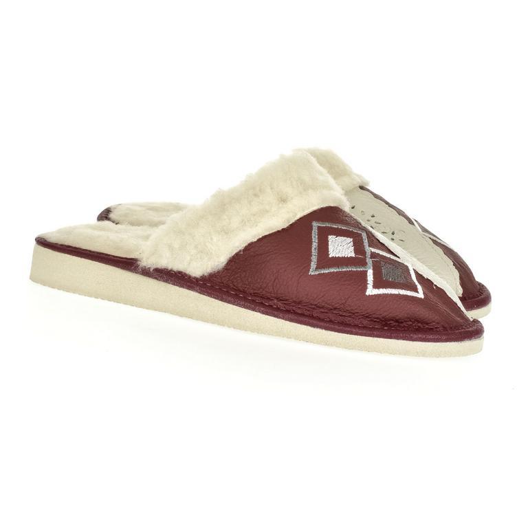 Dámske bordové kožené papuče LIZA