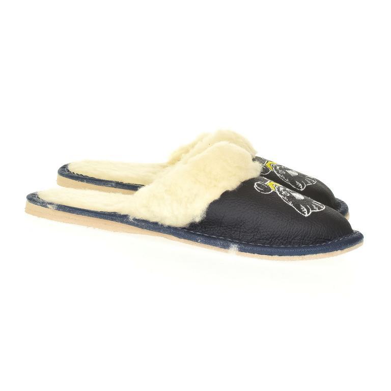 Detské tmavo-modré kožené papuče MICA