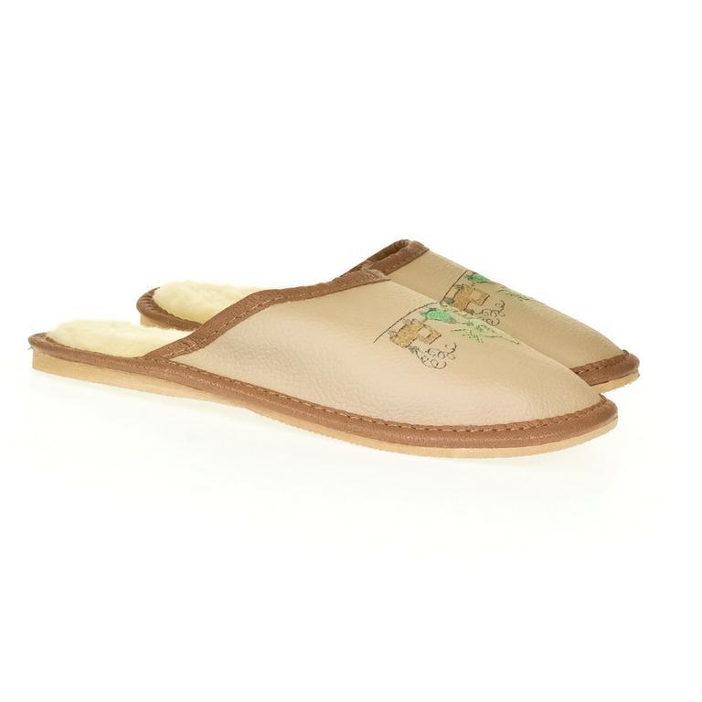 Detské hnedé kožené papuče VLÁČIK
