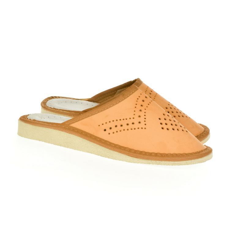 Dámske béžové kožené papuče ANTONINA
