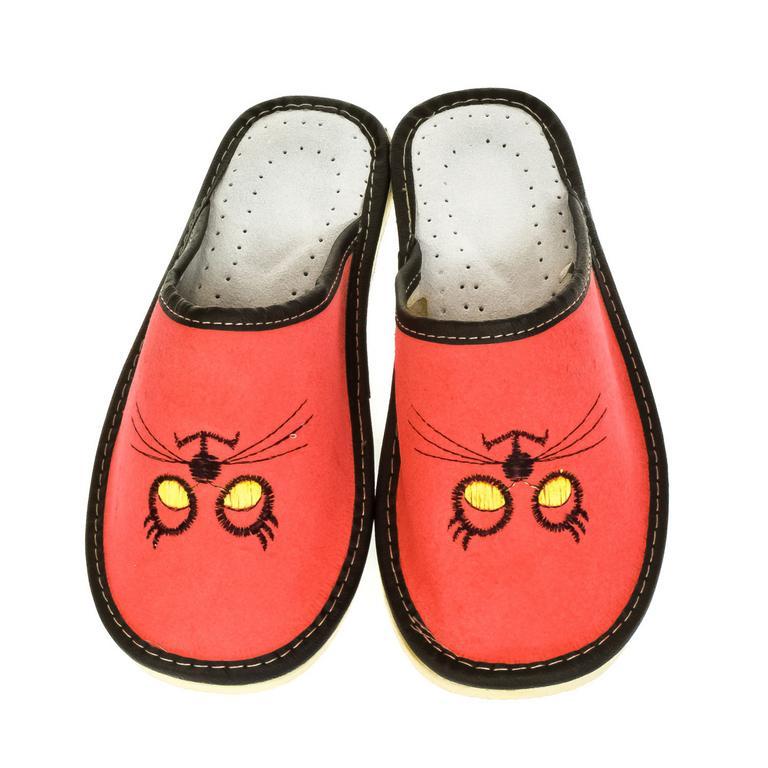 Dámske červené kožené papuče MŇAUKO