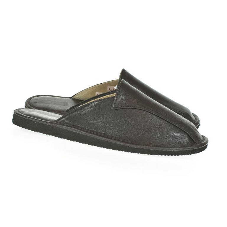 Luxusné pánske čierne kožené papuče ALBERT