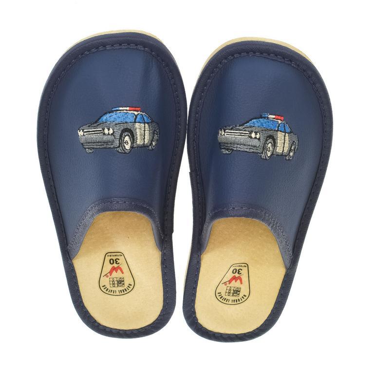 Detské modré kožené papuče POLICE CAR