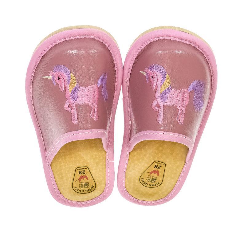 Detské ružové kožené papuče jednorožec KYARA 25-34