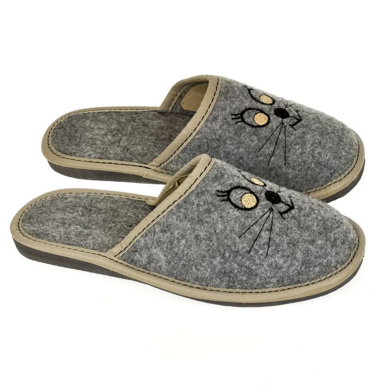 Dámske sivé papuče KITTY