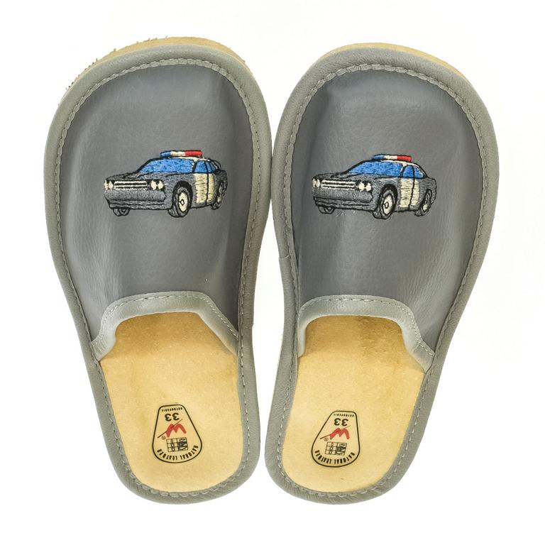 Detské sivé kožené papuče POLICE CAR 35-38