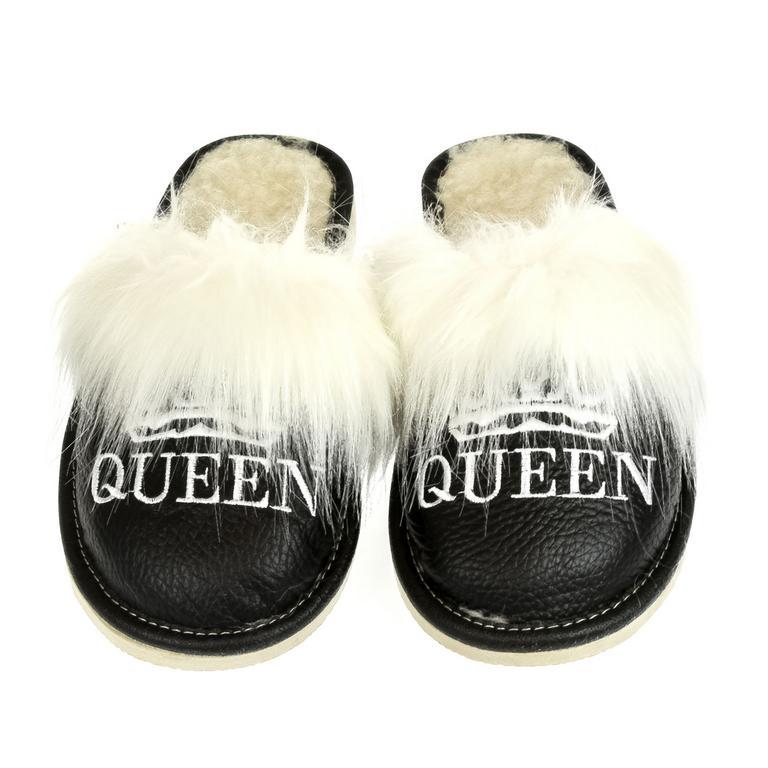 Dámske čierne papuče QUEEN