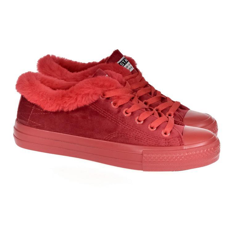 Dámske zateplené červené tenisky VERS