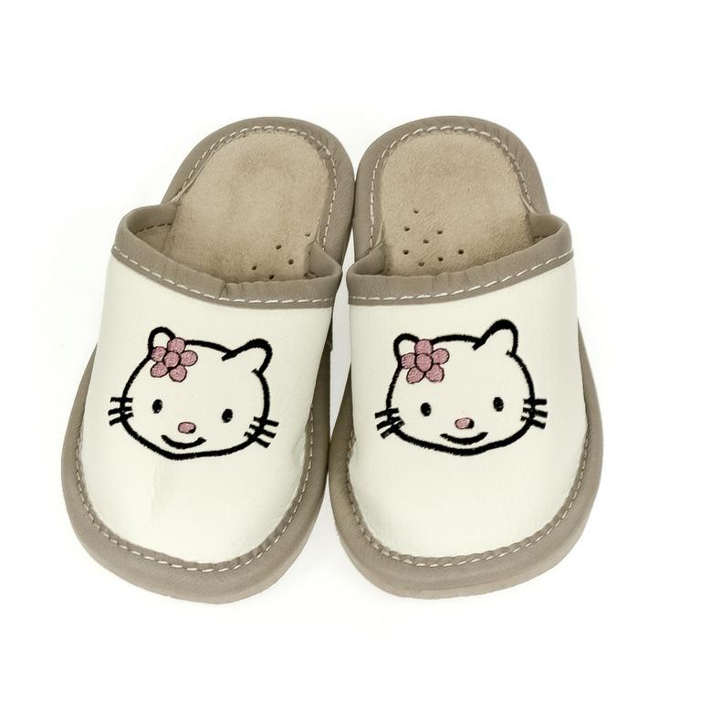 Detské biele papuče KITTY